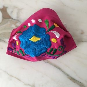 Mexican Floral Face Mask Handmade Embroidered Pink